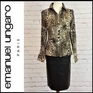 EMANUEL UNGARO Silk Blend Animal Print Blouse 10